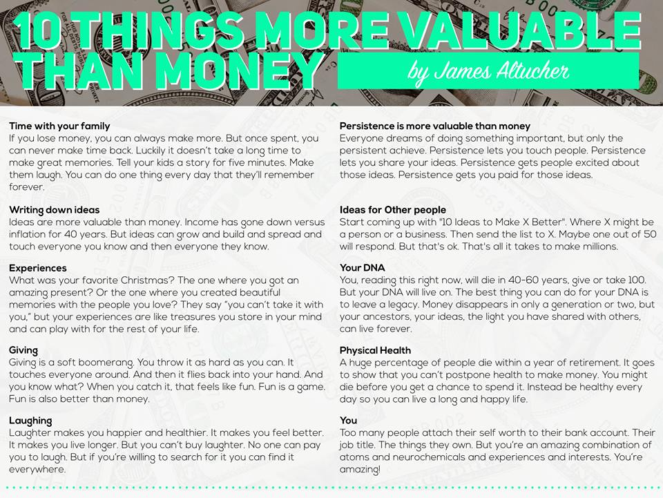 10 things more valuable than money
