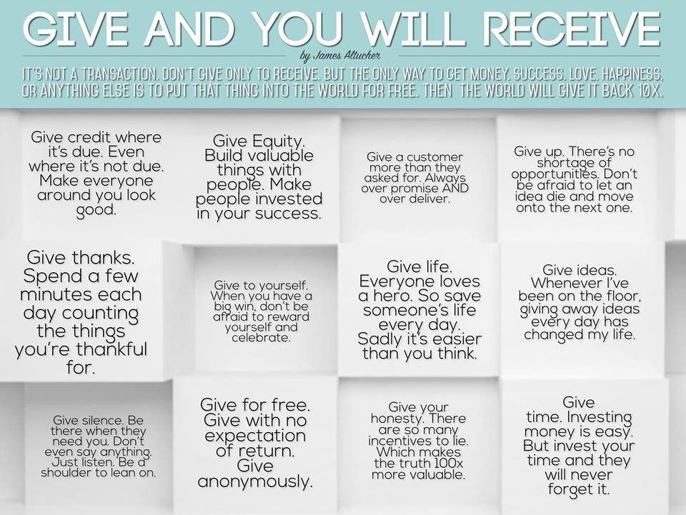 Give and you will receive